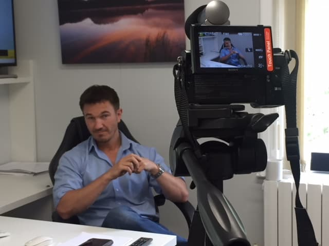 Antony (Managing Director of Paratus) being filmed for exciting new content!
