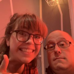 Kate Plowright and Jonathan Bird finish a Social Media Clinic based on Kates Business