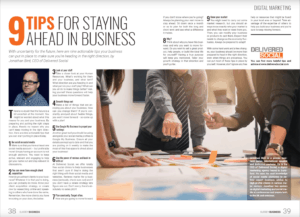 A two page article detailing 9 tips for staying ahead in business