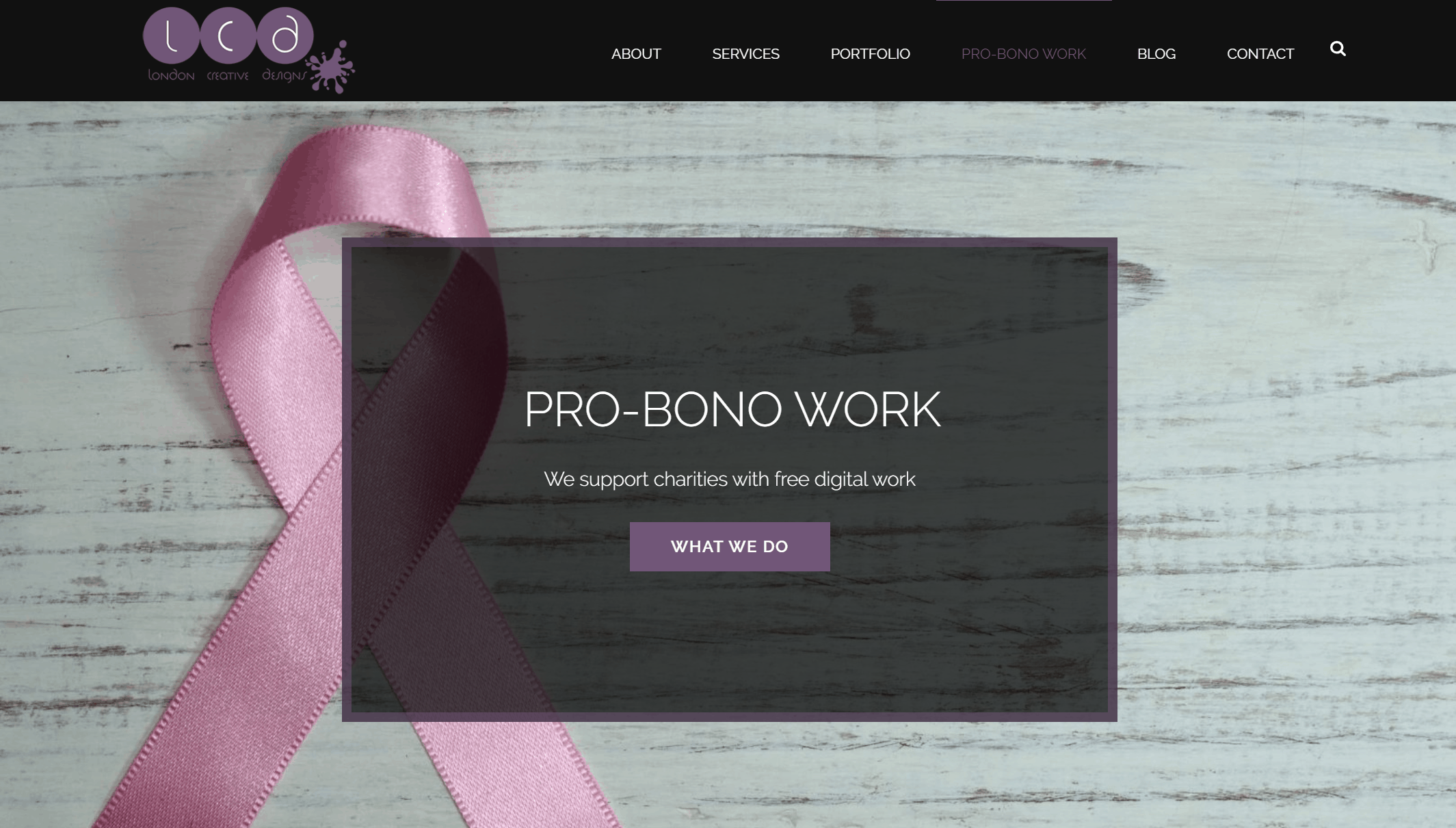 London creative designs pro bono charity work page