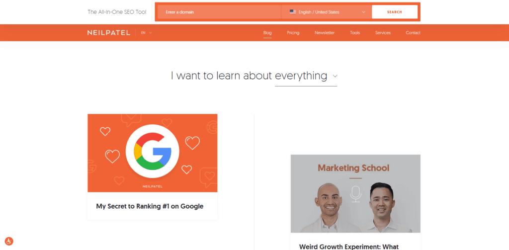 social media marketing website: neil patel