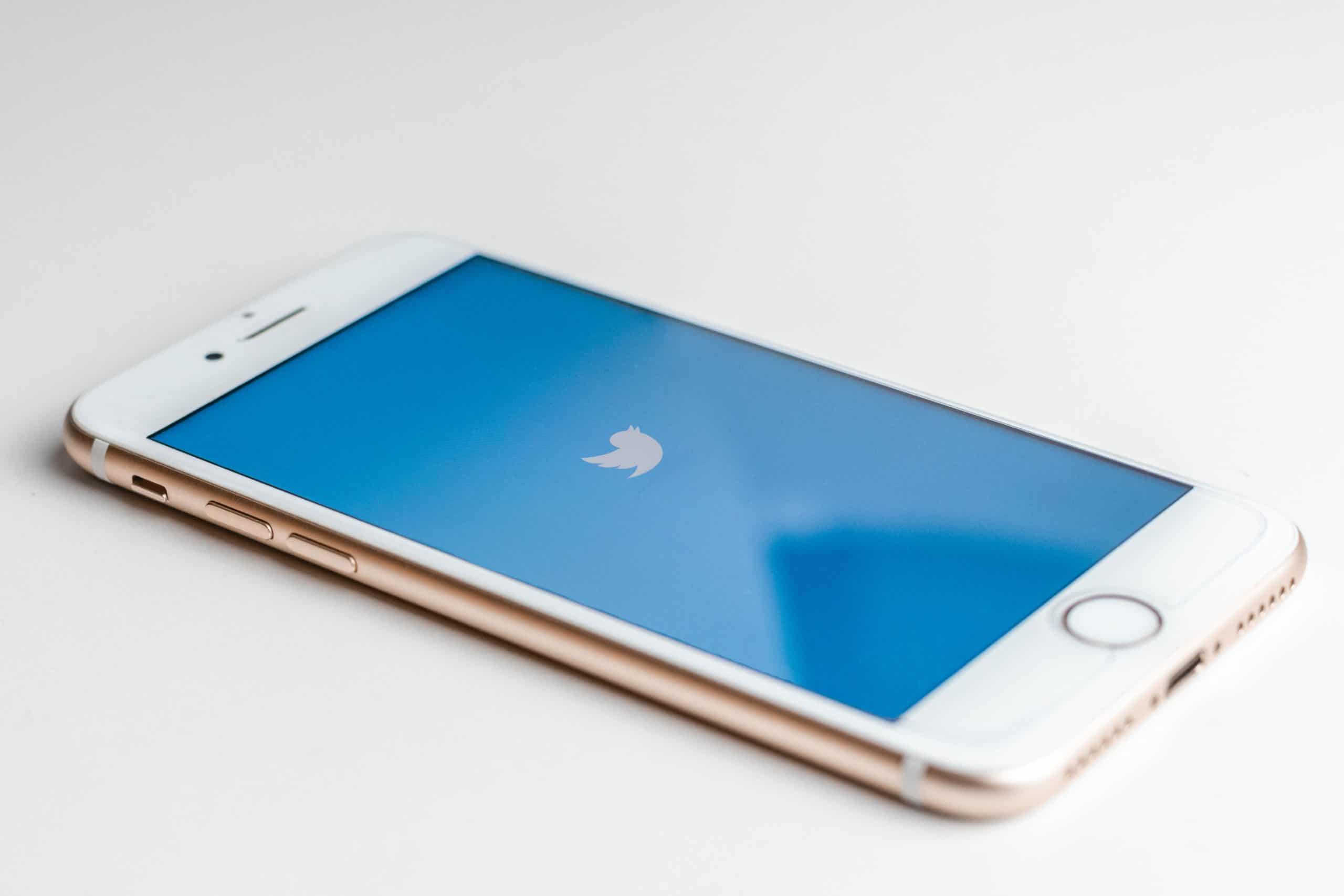 which social media platforms- phone with Twitter logo