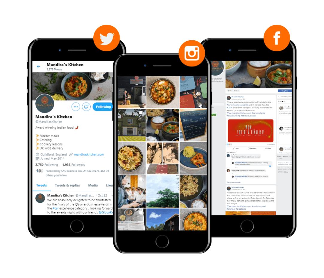 Mandira's Kitchen social media