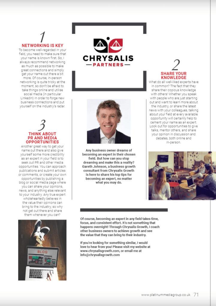 Chrysalis Growth in Platinum Business Magazine